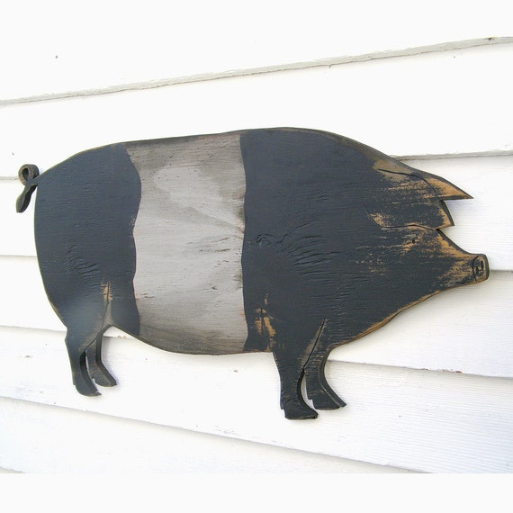 Wooden Belted Pig Sign Country Pig Saddleback Pig Sign