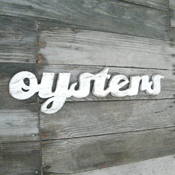 Oysters Word Sign Wooden Seafood Kitchen Sign