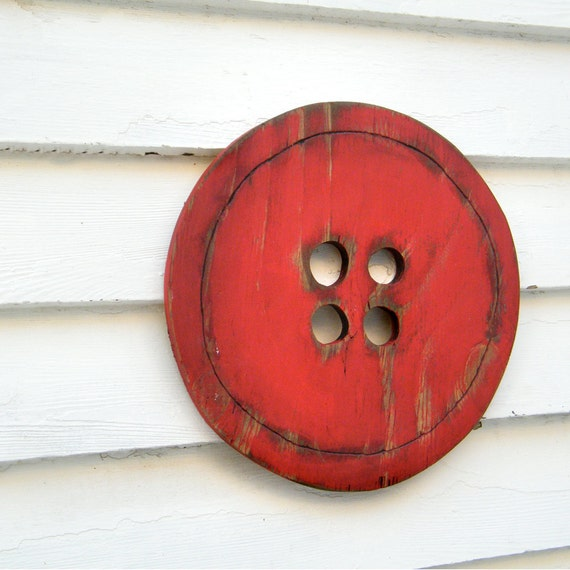 Button Wooden Sign Red Oversized Wooden Sign