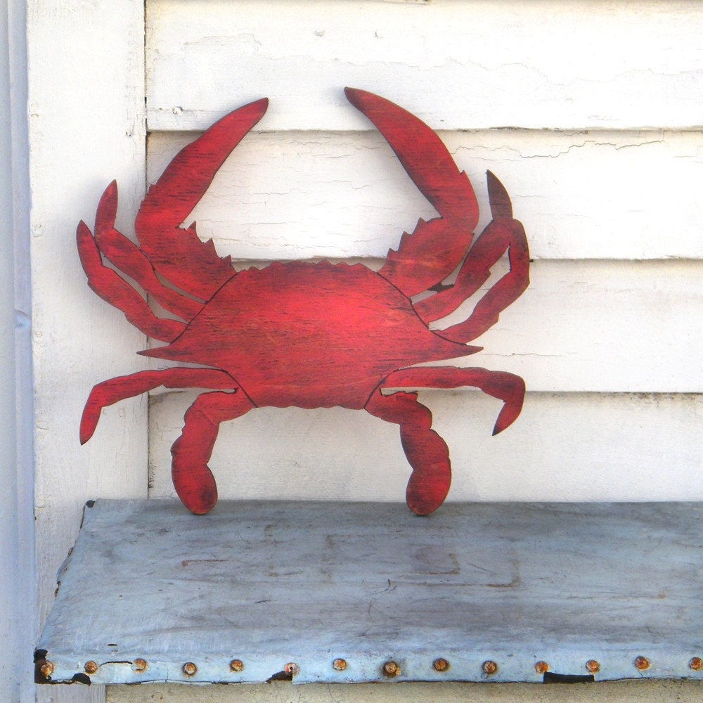 crab sign beach coastal sign wooden sign coastal decor