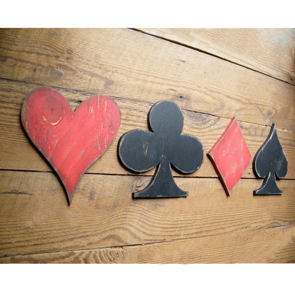 Pc Game Room Ideas: Wooden Card Symbols Sign Game Room Decor Heart Club Diamond