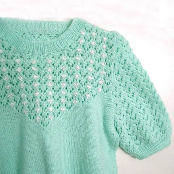 Pistachio Handknit Sweater with Embroidered Flower Buds - Small