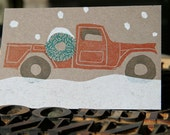 1 Letterpress Jeep Snowy Holiday Post Card