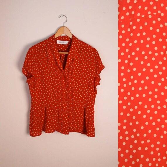 Red Polka Dot Silk Chiffon Cap Sleeve Button Up Blouse