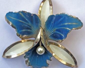 Vintage metal enamel orchid flower pin