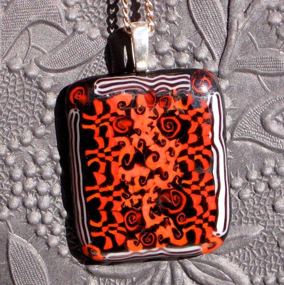 Handmade fused lampwork glass pendant