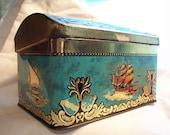 Vintage Tin Box  Sail Boat Tin Box  Vinage Art Box