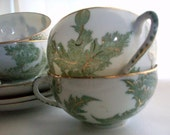 Vintage Olive Green and Gold Japan Cup and Saucer Set