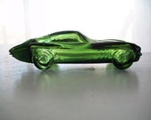 vintage Avon green glass sports car  glass cars