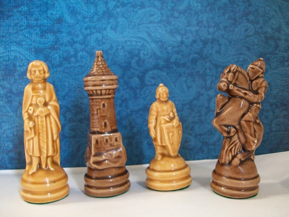 Four Glazed Ceramic Chess Pieces Home Decor Or Shadowbox