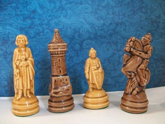 Four glazed ceramic chess pieces home decor or shadowbox - Ceramic chess sets for sale ...
