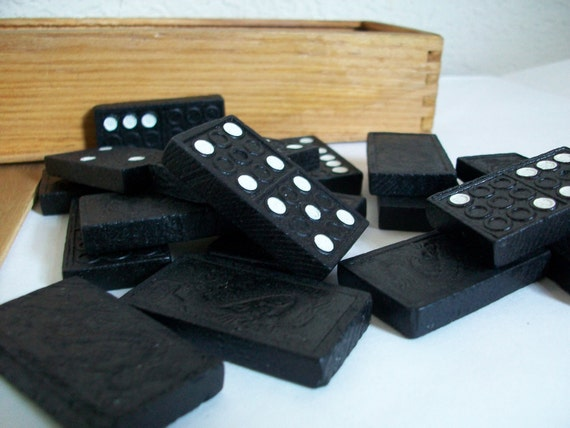 Set of Vintage Black and White Dominoes in Their Original Wooden Box