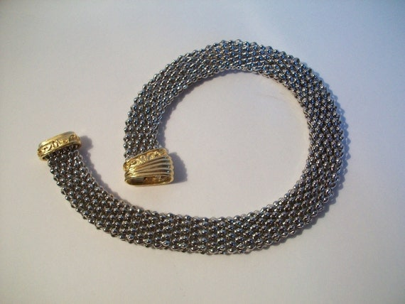 vintage gawdy silver and gold chain necklace