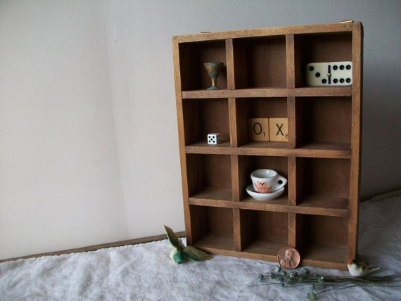 tiny vintage handmade rustic wooden curio box with 12 sections
