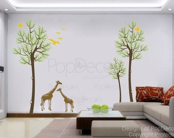 Removable Vinyl Wall Decals Stickers - Trees and Giraffes - Home Decors Murals by PopDecors