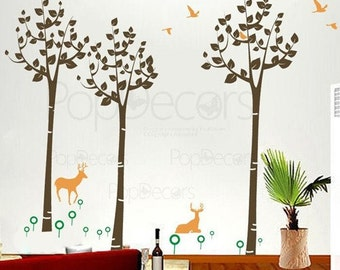 Decals Stickers  Murals Vinyl Wall Art - Forest and Deer(96inch H) - Living Room Playroom Home Decor by Pop Decors