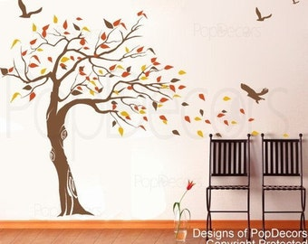 Beautiful Tree and Birds(71 inch H )- Decals Vinyl Stickers Muralsl Wall Art Design  by Pop Decors
