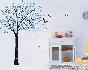 "Tree Wall Decal Living Room Decal Branch Wall Decal Flying Birds Decal- Lovely Tree (65"" H) -Designed by Pop Decors"