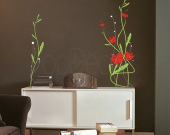 Hibiscus Flower decal - (31.5 inch H) - Wall  Decals Stickers Home Decor by Pop Decors