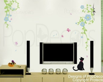 Cat and Vine - Wall  Decals Stickers Home Decor by Pop Decors
