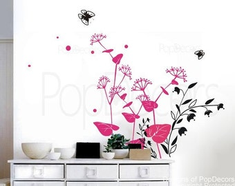 Lovely flowers-25.6inch H- Wall  Decals Stickers Home Decor by Pop Decors