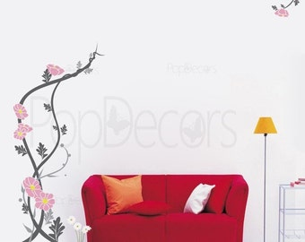 Peaceful flowers-59inch H- Wall  Decals Stickers Home Decor by Pop Decors