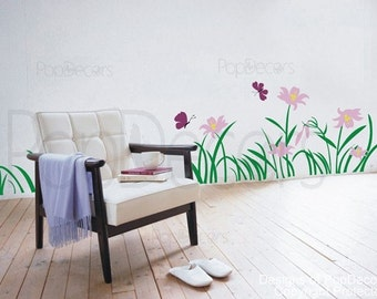 Flowers Wall Decal Grass Wall Decal Butterflies Wall Decal Floral Stickers- Flowers and grass -Designed by Pop Decors