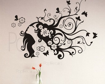 Flower Girl Modern Fashion Wall Decal Lady Girl Removable Wall Vinyl Sticker- 5ft W-  Wall Art Stickers Home Decor by Pop Decors PT-0066