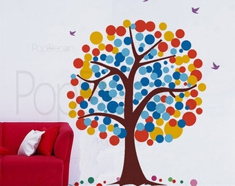 Tree Wall Decal Living Room Tree Decals Butterflies Sticker Girls Room Decal- Polka Dot Tree -Designed by Pop Decors