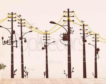 "Cool wire pole -(78"" H) - Modern Vinyl sticker wall decal mural for children playroom PT-0103"