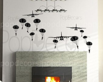 Paratrooper and air planes - Removable Vinyl sticker wall decal for boy kids children room decor
