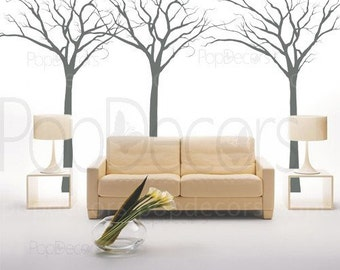 "Fantasy trees (102"" H) - Removable Vinyl wall decals stickers murals living room"