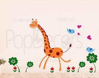 "Giraffe Nursery wall decals Baby Sticker flying birds decal Children wall decal- Cute giraffe(60"" H) -Designed by PopDecors"