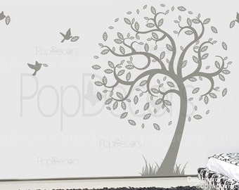Hope tree with flying birds (78inch H )- Removable Vinyl sticker wall decal mural playroom nursery