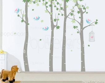 Trees Wall Decal Children Wall Decal Birds Stickers Decal Trees- Maple Forest (102 inch H) -Designed by Pop Decors