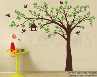 """Tree Wall Decals Stickers Nursery Room Decor Flying Birds Decal Kids Decal- Big tree with love birds(100"""" W) -Deisnged by Pop Decors pt0116b"""