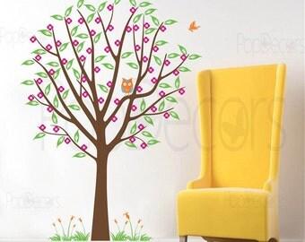 "Girls Flower Tree Wall Decals Nursery Baby Stickers Owl  Butterflies Grass Decals - Flower Tree with Cute Owl(71""H) -by Pop Decors pt0152"