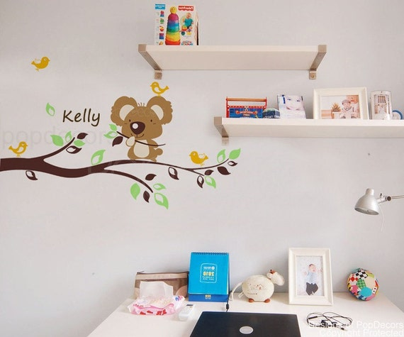 """Koala Bear Decal Personalized Name Decal Tree Branch Decal Kids Name Decal- Koala bear with custom kid's name(47"""" W) -Designed by Pop Decors"""