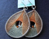 Handmade Cream-Orange Threaded Peruvian / String Art Earrings by EV.I.