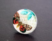 Handmade Vintage Manuscript with Colorful Red Blue Butterfly Resin Adjustable 1'' (25mm) Ring Gift For Her by EV.I.