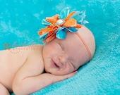 Large Orange and Teal Flower Headband- Pearl - Rhinestone Center- Gorgeous PHOTO PROP- Newborn, Toddler, Girl, Adult