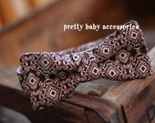 Brown & White Damask Boys Bow Tie