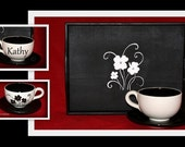 Personalized latte mug with saucer and Serving Tray