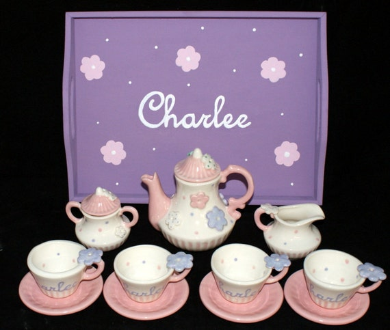 Personalized Tea Set With Wooden Tray Child By
