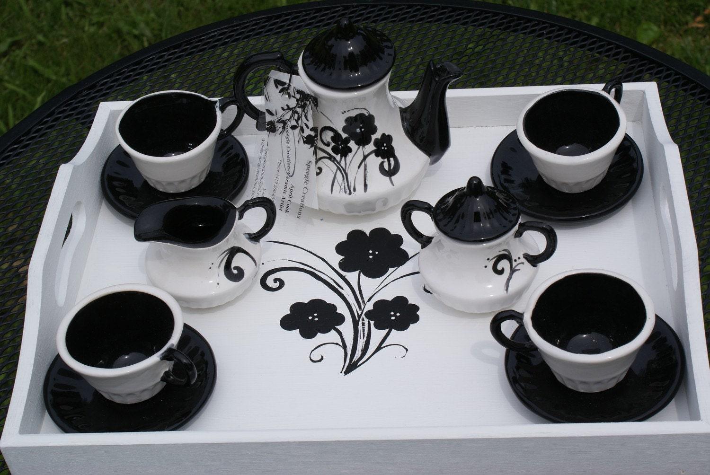 Children S Black And White Tea Set