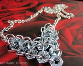 DESTASH Price - Necklace - Love Is Nuts  Adjustable Heart Chainmaille - Steel and Aluminum