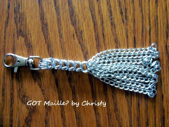 Chainmaille Cat 'O Nine Tails   Miniature Chainmaille Clip Accessory