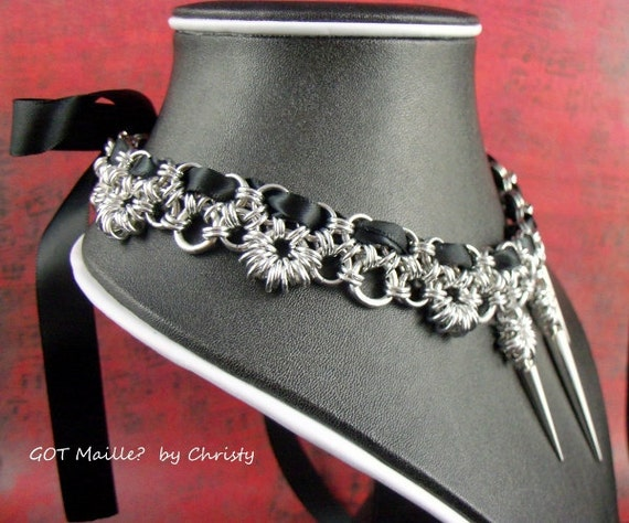 Special Reserve for KAYLONI - Chainmaille Necklace - Japanese Lace with Satin - Princess Collection