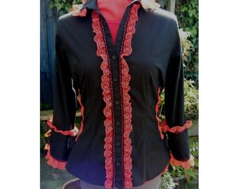 corset shirt with red lace. victorian blouse. steampunk shirt gothic lolita blouse Revamped vampire