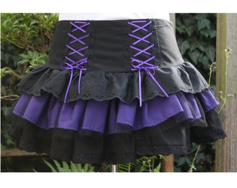 SALE Gothic Lolita skirt. black and purple rara skirt Halloween witch goth  80s skirt last one